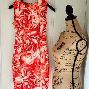 Calvin Klein Rose Print Scuba Dress